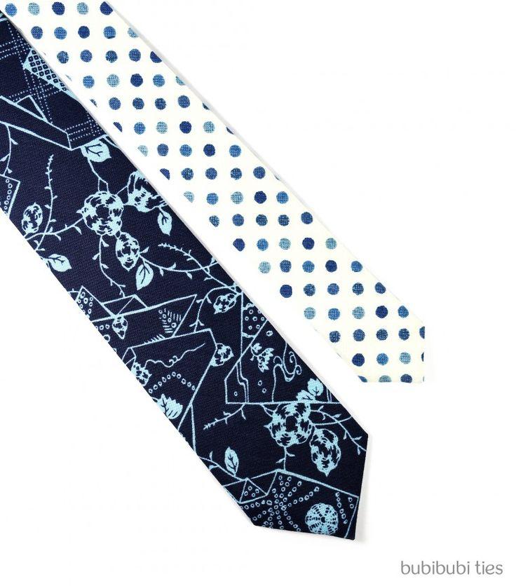 Navy/blue origami twin necktie - bubibubi ties