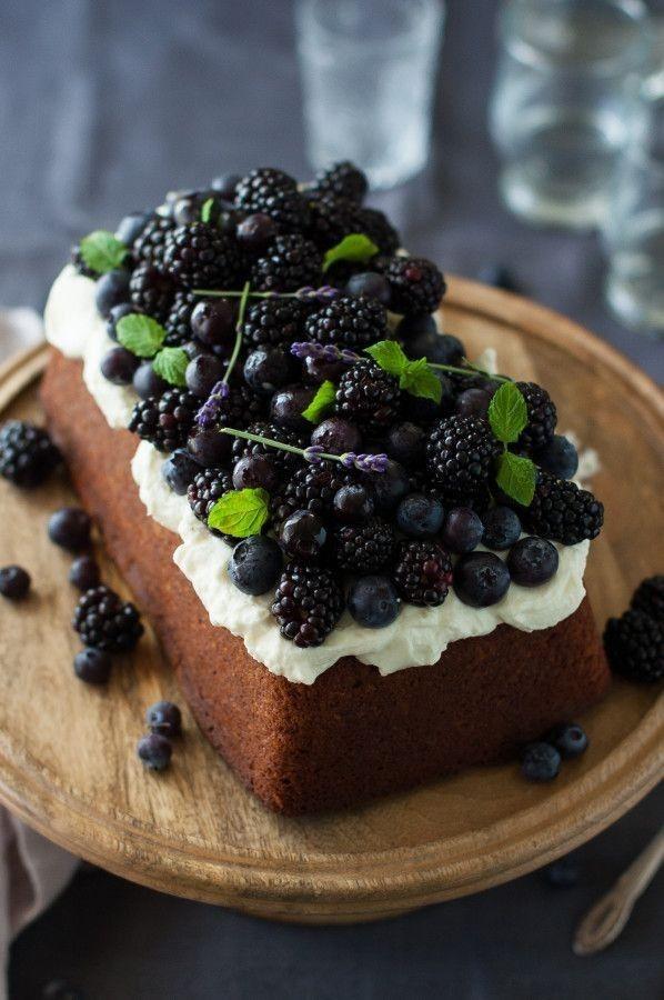 Blueberry lavender pound cake with lemon mascarpone cream.