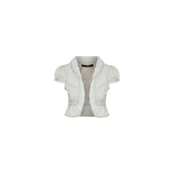 ruffle edge denim bolero ($18) ❤ liked on Polyvore featuring outerwear, jackets, bolero, tops, women, ruffle bolero, denim bolero jacket, bolero jacket, ruffle jacket and ruffle bolero jacket