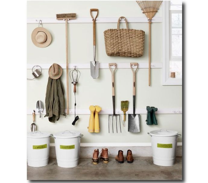 Marvelous Organize Your Garage/garden Shed With Three Rows Of Shaker Style Peg Rails  For Easy Tool Display