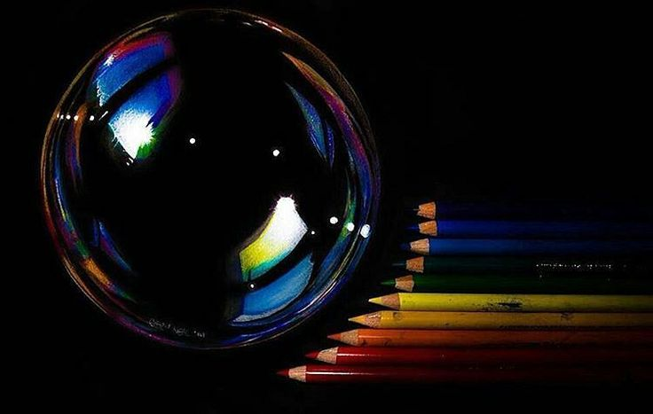 """""""Soap bubble! Colored pencil drawing on black paper by @casey_neal #artistinspired #theartisthemotive ."""""""