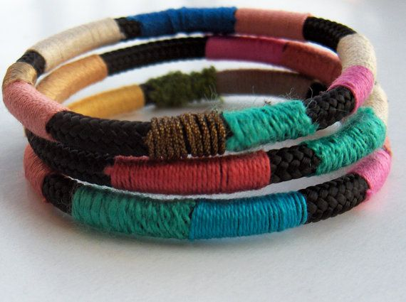 Set of three striped climbing rope bracelets in by JollyJollyJulie