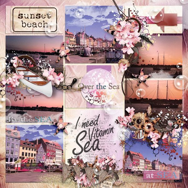 "kit ""Sunset Beach"" by Sekada http://store.scrapgirls.com/designers/Sekada-Designs.html Templates ""Precious Album 3 - clustered "" by Tinci  http://store.gingerscraps.net/Precious-album-3.-Clustered.html"