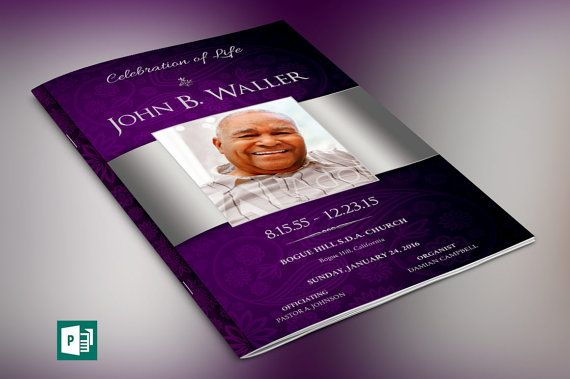 Lavender Silver Dignity Funeral Program Publisher Template is created in Microsoft Publisher for a modern memorial or home going service. It's silver decals and text style laid over a lavender paisley background will honor and dignify your loved ones. A great keepsake program.  This template is a Microsoft Publisher template designed by Godserv to be edited with Microsoft Publisher 7 and higher. Once you have downloaded this template, use Microsoft Publisher to make edits.  WHATS INCLUDED…
