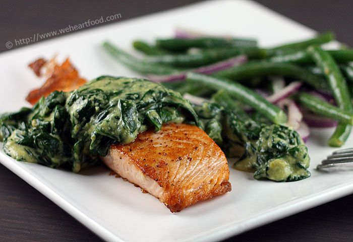 PAN SEARED SALMON WITH CREAMY POBLANO /SPINACH SAUCE | FOOD ...