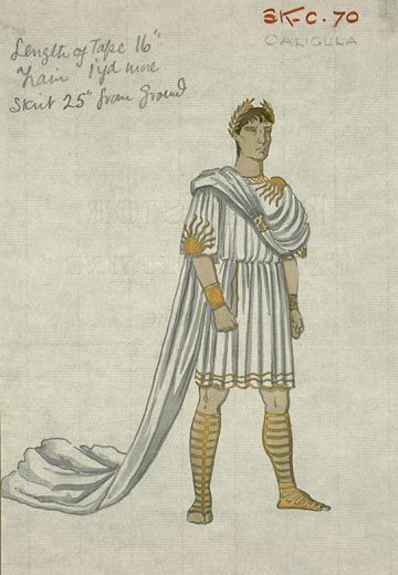 I, Claudius Directed by Denis Kavanagh and Josef Von Sternberg for London Film Productions, 1937 (not completed) Costumes designed by John Armstrong John Armstrong (1893-1973) Costume design for I, Claudius, 1937 Emlyn Williams as Caligula