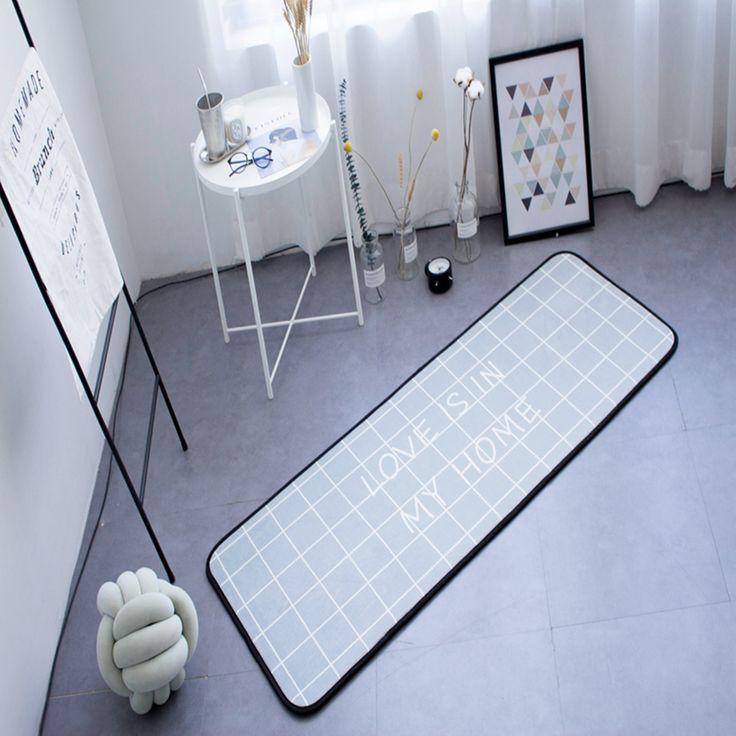 Grey Color Plaid Doormat Anti-Slip Floor Mat Door Mat Long Carpet Home Textile Rug Brief Style Children's Playmat Soft Polyester