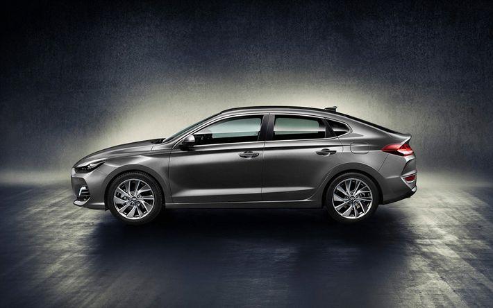 Download wallpapers Hyundai i30 Fastback, 2018, Side view, new cars, i30, Korean…