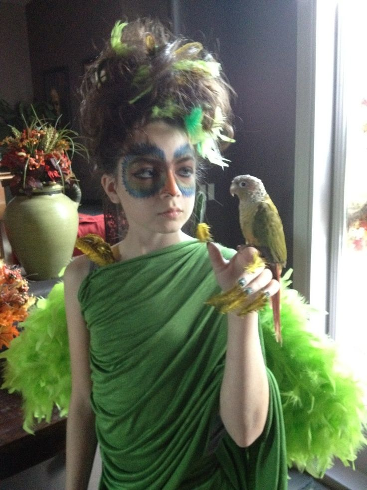 avant garde bird costumes | Avant garde makeup and hair for bird Halloween costume