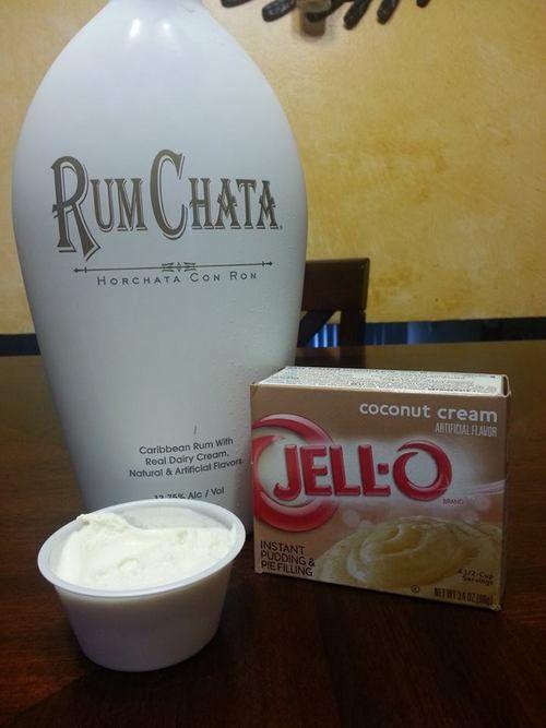 RUMCHATA COLADA Pudding Shots: 1 small box coconut cream pudding, 3/4C milk, 3/4C Rumchata, 8oz tub Cool Whip (Lists various pudding shots here)