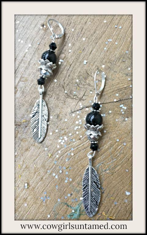 VINTAGE COWGIRL EARRINGS Antique Silver Feather Black Crystal Gemstone Earrings