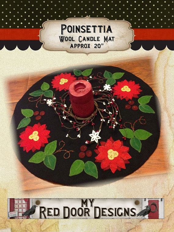 Poinsettia wool applique kit and pattern by myreddoordesigns, $39.99