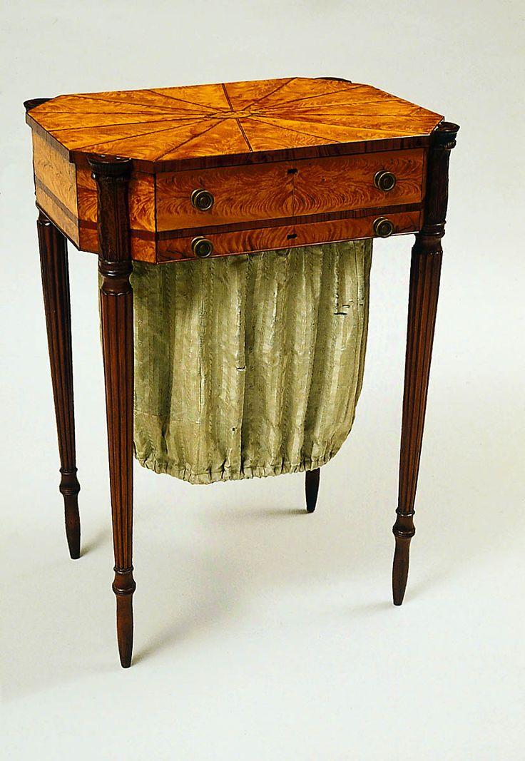 1808 Sheraton Work Table W Hook Salem Ma Mah Stnwd