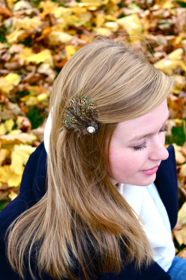 Yellow hair accessories for wedding - Pheasant Feather Hair Clip