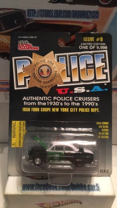 RACING CHAMPIONS 1950 FORD COUPE NEW YORK CITY POLICE -1:58 SCALE- NIP #Ford #Ford
