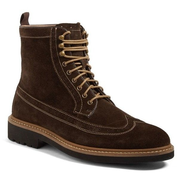 Men's 1901 Spence Longwing Boot ($140) ❤ liked on Polyvore featuring men's fashion, men's shoes, men's boots, brown suede, mens brown brogue boots, mens brown boots, mens suede brogues, mens boots and mens brown suede chelsea boots