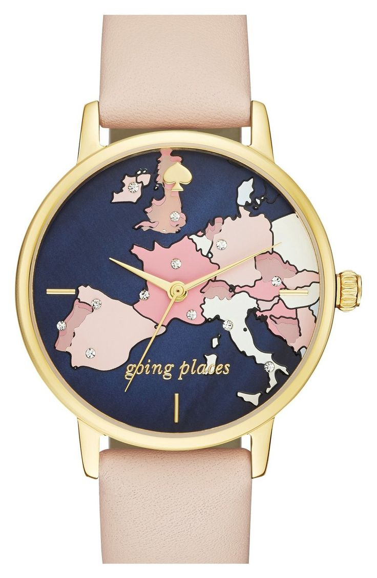 Going places with this adorable watch from Kate Spade! Tiny crystals mark out an itinerary on a jet-setting round watch designed with a map of European hotspots covering the dial.