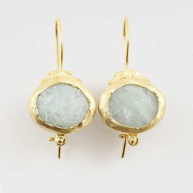Aquamarine  Fish Hook Earrings in Sterling Silver plated in 24k gold.