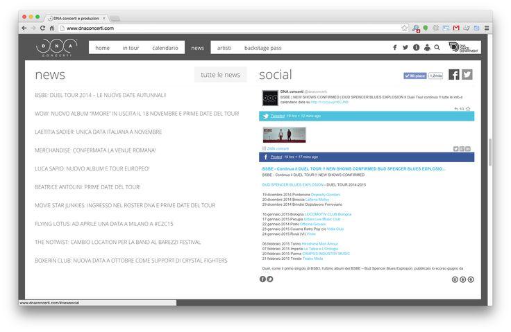 """Progettazione e Realizzazione Sito Web per """"DNA concerti e produzioni""""  Responsive Website Social Plugin Php Html5 Css3 Javascript"""