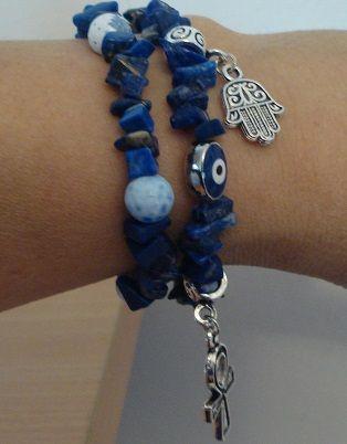 Lapis lazuli bracelet - Hamsa bracelet - Hand of Fatima bracelet - Ankh charm - Egyptian jewelry  - Middle east bracelet
