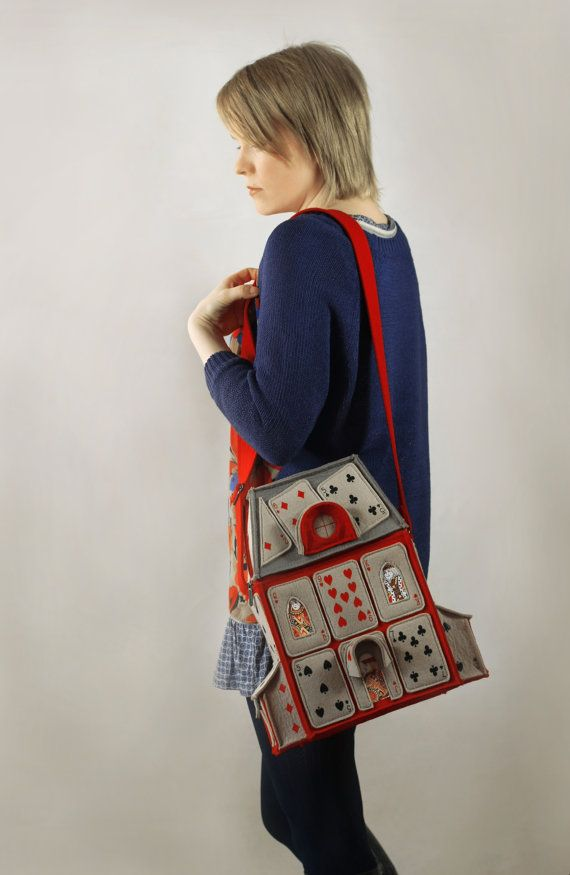 House Of Playing Cards Felt Bag Alice in by krukrustudio on Etsy, $190.00