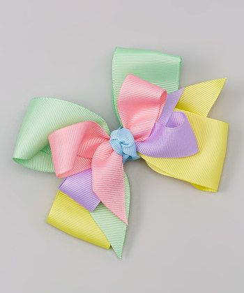 Pink & Yellow Pastel Bow Clip