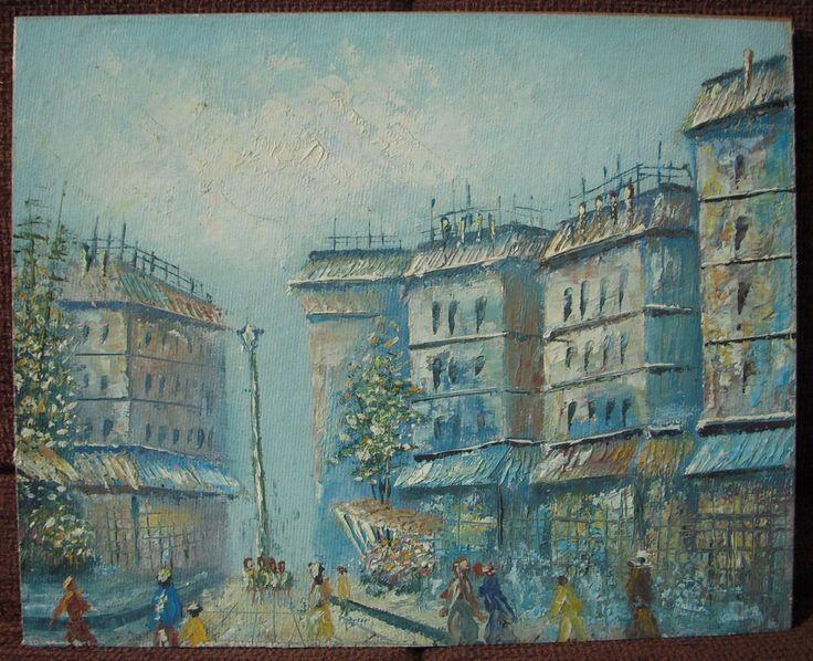 Original Oil/Acrylic Painting European Street/City Paris/Rome