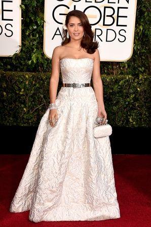 Salma Hayek at the 2015 #GoldenGlobes in Alexander McQueen