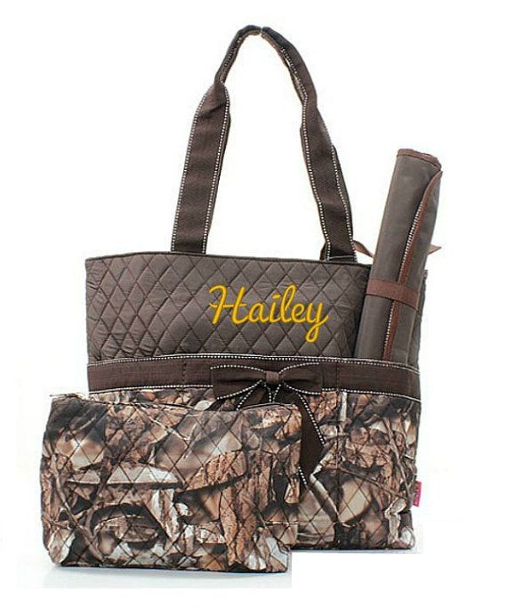Monogrammed Natural Camo Diaper Bag Brown by GiftsHappenHere