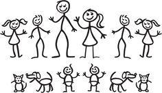 Helping children make a stick figure family.