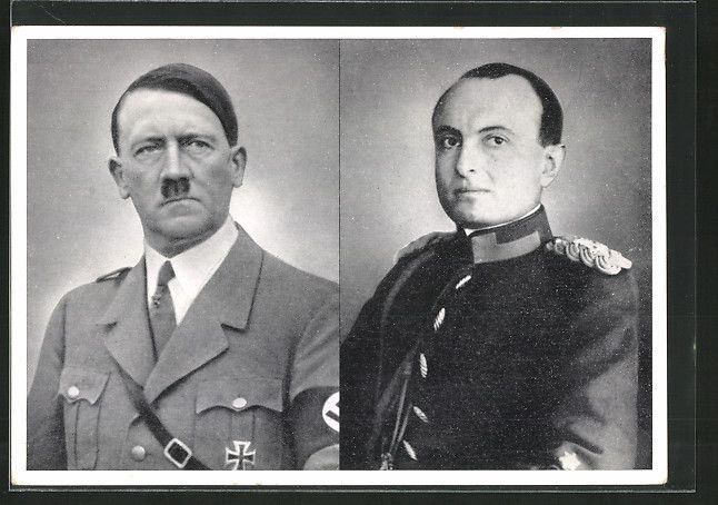 old postcard: AK Berlin, Staatsbesuch Juni 1939, Prinzregenten Paul von Jugoslawien trifft Reichskanzler Adolf Hitler