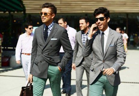 Grey Jackets & Green Pants - Great Color Combinaiton