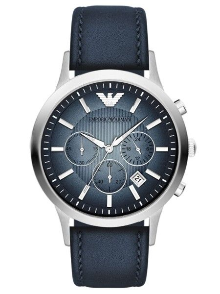 Features include a blue textured degrade dial and a perforated blue leather  strap.Buy the EmporioArmani Classic Watch Now! 5efc591b70