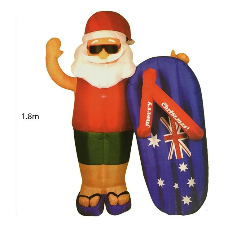 1.8 Meter Inflatable Aussie Santa with Thong Surfing Board
