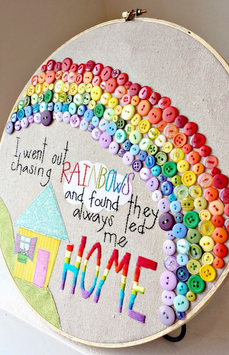 buttons embroidery hoop art | This project shows how it looks with all the buttons on one level ...
