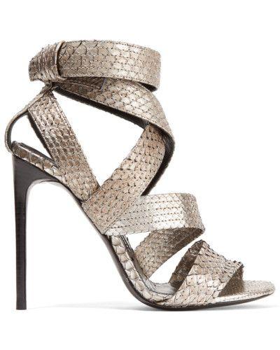 Tom Ford Damen Metallic Python Sandals Silber