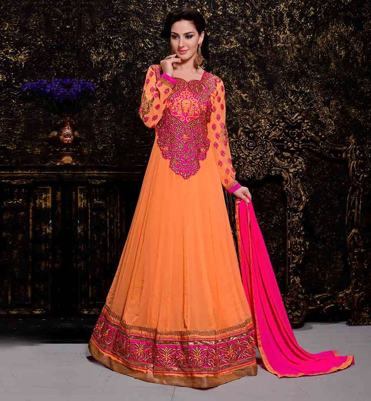 #LATEST_ANARKALI_SUITS ONLINE SHOPPING INDIA. MESMERIZING ORANGE #GEORGETTE_ANARKALI_DRESS. WITH MATCHING SALWAR AND PINK CHIFFON DUPATTA