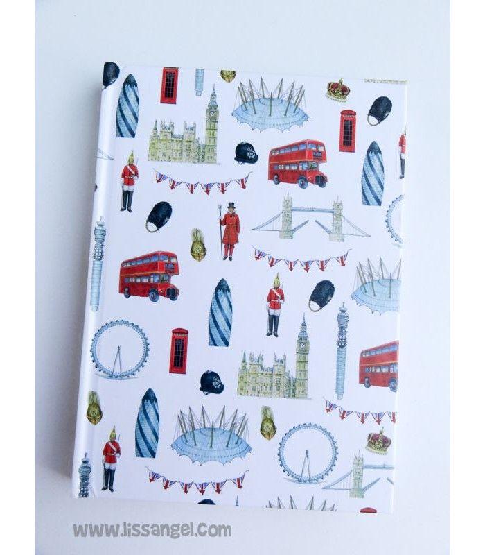 Tenemos #cuadernos originales de todo tipo, mira este modelo inspirado en la ciudad de moda: #Londres. Decorada con todo tipo de cosas que recuerdan a la capital de Reino Unido. Tamaño A6 y 80 hojas rayadas.  #papeleria #london