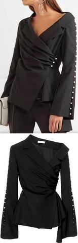 Black Asymmetric Pearl Wrap Top