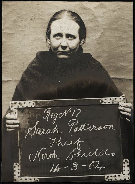 Name: Sarah Patterson  Arrested for: Thief  Arrested at: North Shields Police Station  Arrested on: 14th March 1904  Tyne and Wear Archives ref: DX1388-1-35-Sarah Patterson