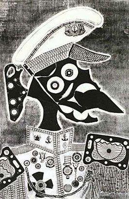 Marino amigo de Ramona, 1964, xilocollage, 98,2 x 64,2 cm. Col. privada