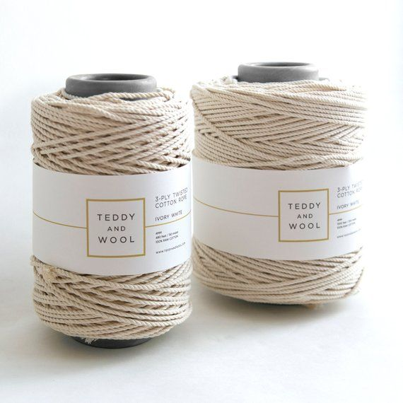 Macrame Cord 4mm Twisted Cotton Cord 1000ft White Cotton