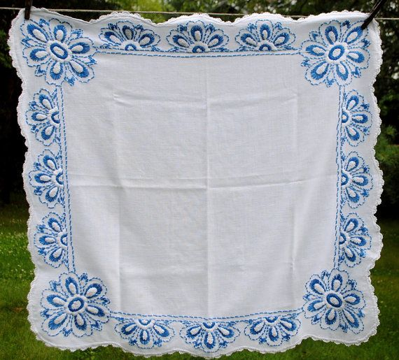 Vintage Country Blue White Scalloped Cotton Tablecloth by barbsbin