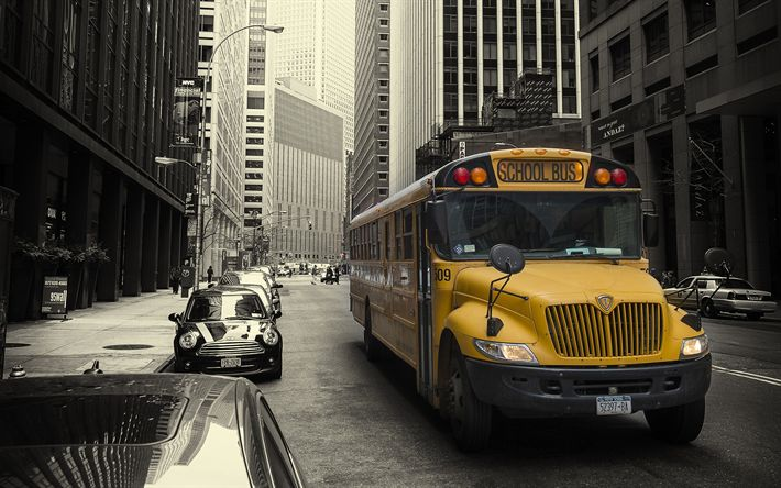 Download wallpapers New York, school bus, metropolis, streets, USA, American school bus