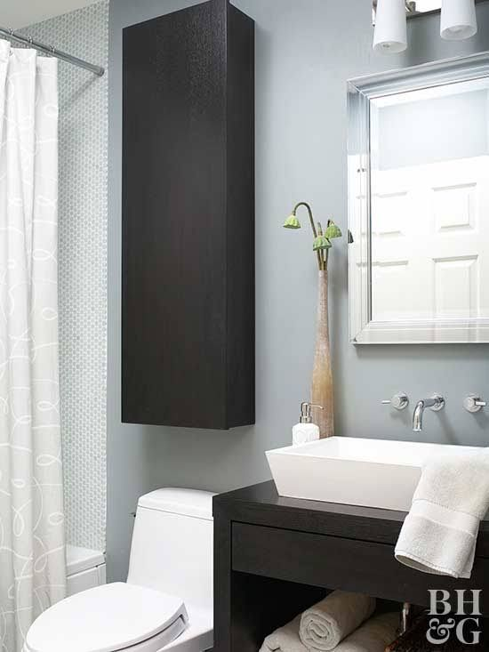 Maximize your bathroom storage space—and keep the room looking good—by making use of the area above and around your toilet. We'll show you how to install shelving units, cabinets, ladders, and more so your bathroom can store more in style.