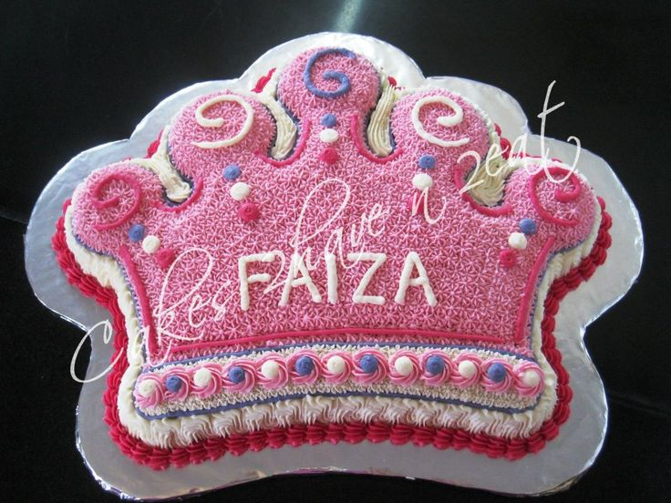 CROWN CAKE - BEAUTIFULLY DECORATED WITH BUTTERCREAM IN PINK AND PURPLE FOR OUR LITTLE PRINCESS