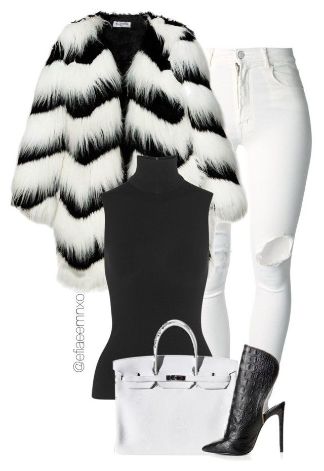 """""""Chinchilla Covered"""" by efiaeemnxo ❤ liked on Polyvore featuring (+) PEOPLE, Ziggy, Donna Karan and Hermès"""