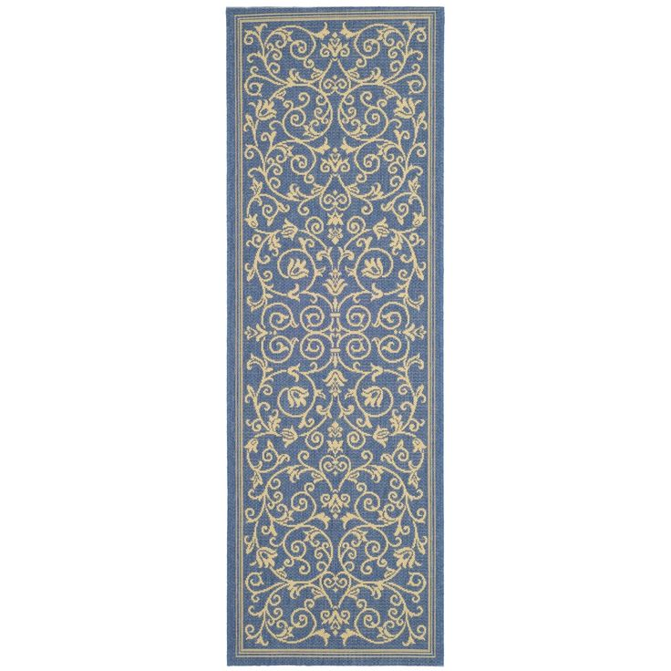 Safavieh Resorts Scrollwork Blue/ Natural Indoor/ Outdoor Rug (2'2 x 14') ((2 ft. 2 in. x 14 ft.)), Size 2'2 x 14' (Polypropylene, Border)