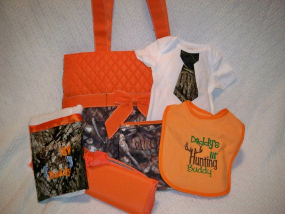 18 best personalized diaper bags images on pinterest diapers 3 personalized 6 piece camo and orange diaper bag set by grinsandgigglesbaby1 6250 negle Image collections