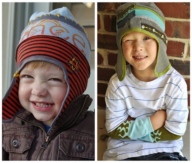 Little boy hats!  These are sooo cute.  I love the use of old t-shirts too.